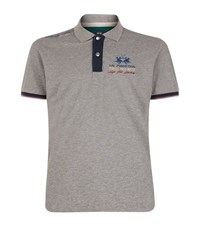 La Martina Pique Logo Polo Shirt Male Grey