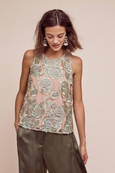 Anthropologie Gueret Lace Tank Green Motif