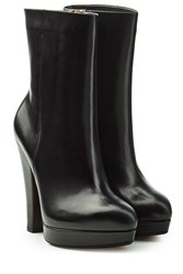 Sonia Rykiel Leather Boots With Platform Black