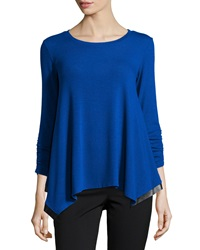 Chelsea And Theodore 3 4 Sleeve Tunic With Faux Leather Trim Royal Blue