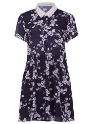 Sugarhill Boutique Daisy Print Shirt Dress Navy Cream