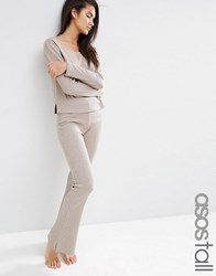 Asos Tall Lounge Ribbed Skinny Flare Trouser Mink Marl Grey