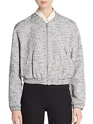 Tess Giberson Cropped Tweed Bomber Jacket Black Print