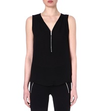 The Kooples Silk Jersey Tank Top With Zip Neck Black