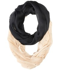 Betsey Johnson Color Block Foil Crinkle Loop Scarf Black Scarves