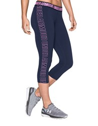 Under Armour Solid Logo Printed Capri Pants Midnight Navy