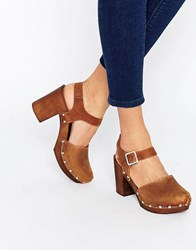 Asos Only Once Leather Heeled Shoes Tan
