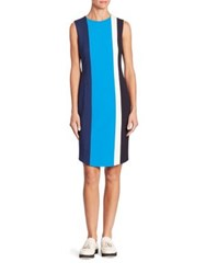 Akris Punto Colorblock Shift Dress Azure Deep Blue