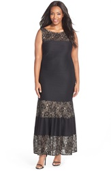 London Times Lace Inset Pintuck Pleat Maxi Dress Plus Size Black Nude