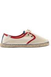 Soludos Derby Lace Up Canvas And Mesh Espadrilles Beige