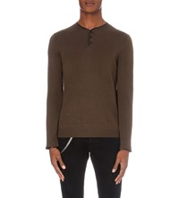 The Kooples Leather Trim Wool Jumper Kaky