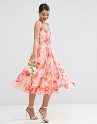 Asos Wedding Floral Printed Rouched Bandeau Mesh Midi Dress Floral Multi