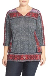 Plus Size Women's Lucky Brand 'Batik Flowers' Print V Neck Tee