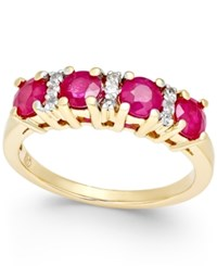 Macy's Ruby 1 1 3 Ct. T.W. And Diamond 1 10 Ct. T.W. Ring In 14K Gold Yellow Gold