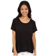 Lilla P Warm Viscose Short Sleeve Pocket Tee Black Women's T Shirt