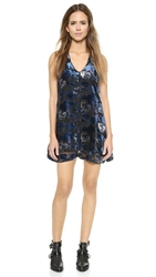 Bb Dakota Mini Dress With Vevlet Floral Pattern Black Blue