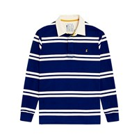 Joules Rory Striped Rugby Shirt Ink Blue