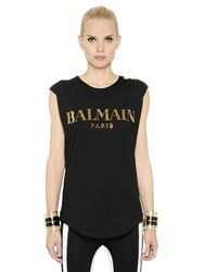 Balmain Logo In Swarovski On Cotton T Shirt