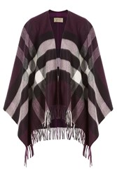 Burberry Shoes And Accessories Printed Cashmere Merino Wool Cape Purple