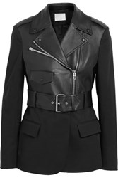 Alexander Wang Leather And Cotton Blend Jacket Black