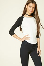 Forever 21 Heathered Baseball Tee Cream Black