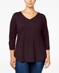 Styleandco. Style Co. Plus Size V Neck Ruched Sleeve Top Only At Macy's Dried Plum