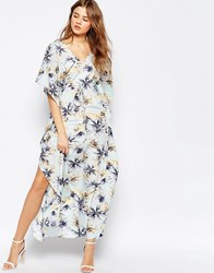 Traffic People Caftan Maxi Dress In Palm Print Blue
