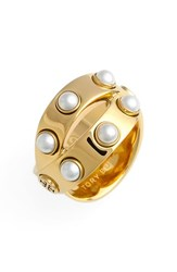 Women's Tory Burch Double Wrap Ring Ivory Gold