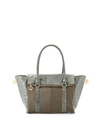 Neiman Marcus Faux Suede And Croc Embossed Wing Tote Hunter