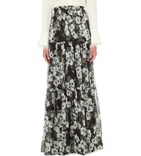 Erdem Tiered Floral Print Silk Maxi Skirt Black White