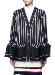 Thom Browne Exposed Seam Pleated Wool Mohair Jacket Multi Colour Blue