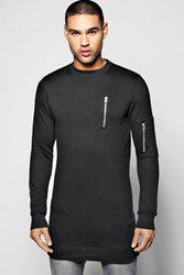 Boohoo Ma1 Crew Neck Sweater With Side Zips Black