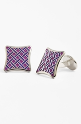 David Donahue Sterling Silver Basketweave Cuff Links Silver Light Purple Violet
