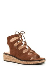 Bettye Muller Midas Lace Up Platform Sandal Brown
