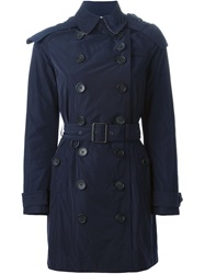Burberry Brit Belted Trench Coat Blue