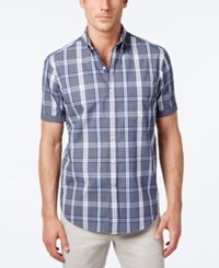 Club Room Men's Big And Tall Plaid Short Sleeve Shirt Only At Macy's Navy Blue