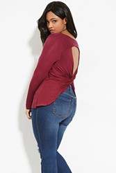 Forever 21 Plus Size Twist Back Cutout Top Burgundy
