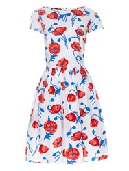 Oscar De La Renta Poppy Print Cotton Dress