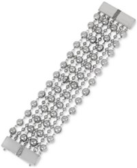 Kenneth Cole New York Silver Tone Multi Chain Beaded Link Bracelet