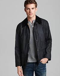 Barbour Ashby Tailored Waxed Cotton Coat Navy