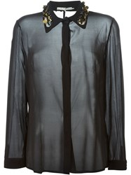 L'autre Chose Embellished Collar Shirt Black