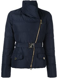 Versace Collection Asymmetric Zip Puffer Jacket Blue