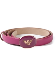 Emporio Armani Logo Plaque Belt Pink And Purple