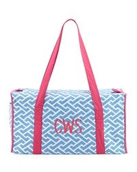 Malabar Bay Monogrammed Chain Print Large Duffle Bag Molly Blue White Pink