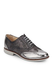 Cole Haan Gramercy Coated Leather Lace Up Oxfords Dark Silver