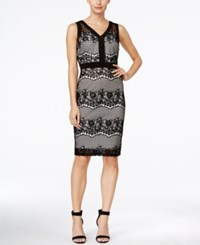 Sangria Sleeveless Lace V Neck Sheath Dress Oxford
