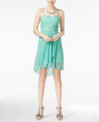 Amy Byer Bcx Juniors' Lace Illusion Waist High Low Dress Mint