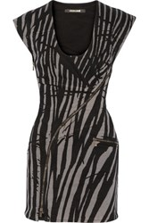 Roberto Cavalli Tiger Print Denim Mini Dress Black