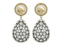 Tory Burch Crystal Pearl Statement Earrings Ivory Gold Earring