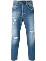 People People Regular Fit Distressed Jeans Blue